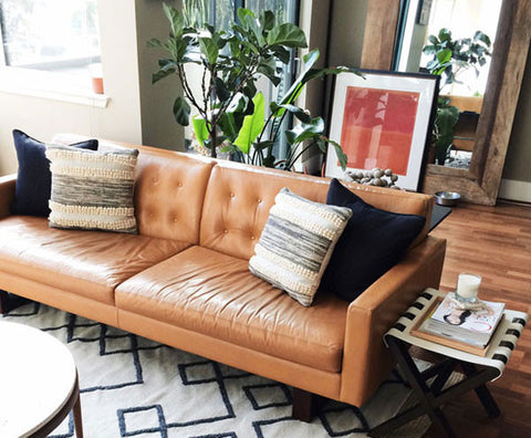 leather sofa in living room