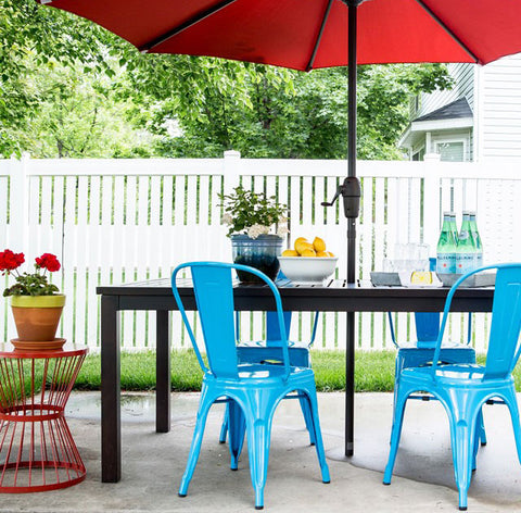 tolix chairs on patio
