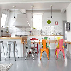 tolix dining chair and barstools in kitchen