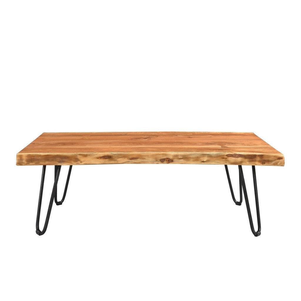 Acacia Live Edge Coffee Table With Hairpin Legs Wazo