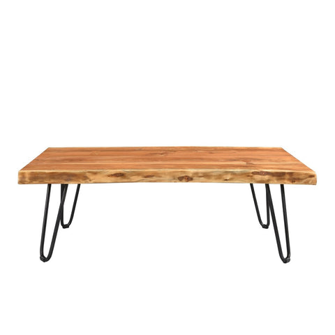 Acacia Live Edge Coffee Table With Hairpin Legs