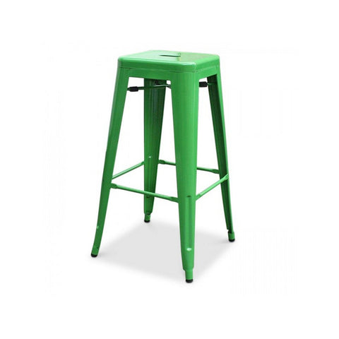 All Metal Tolix Bar Stool - Green