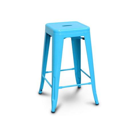 All Metal Tolix Bar Stool - Blue