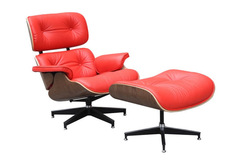 Red Eames Molded Lounge Chair and Ottoman