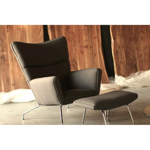 J Wegner Style Wing Chair & Ottoman-Dark Grey Wool