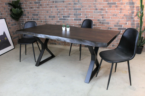 Acacia Live Edge Dining Table with Black X Shaped Legs/Walnut Color - Wazo Furniture