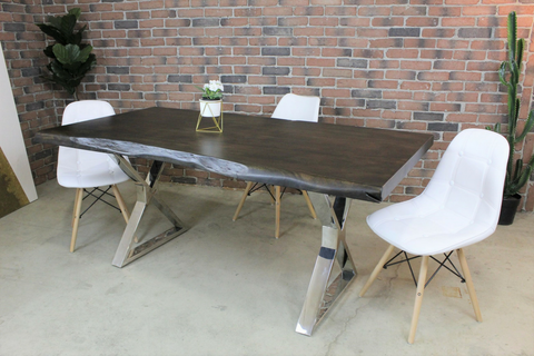 Acacia Live Edge Dining Table with Chrome X Shaped Legs/Walnut Color - Wazo Furniture