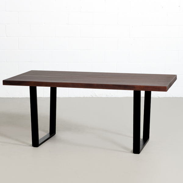 Straight Cut Acacia Dining Table with Black U legs/Honey Walnut - Wazo Furniture