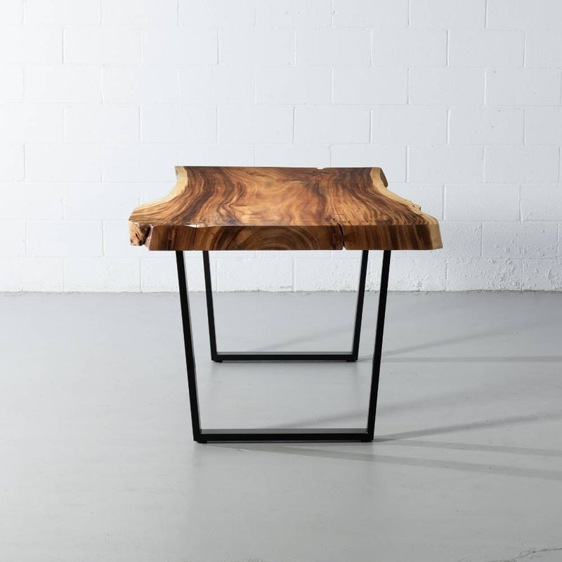 Live Edge Suar Table with Black U Shaped Legs/Natural Finish - Wazo Furniture
