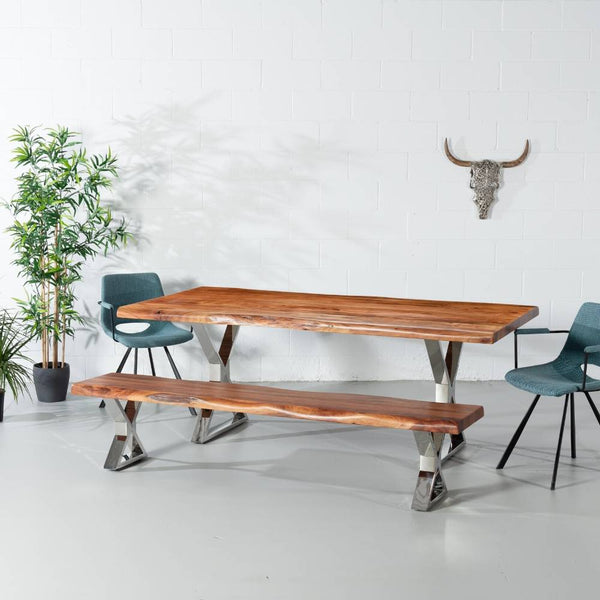 Acacia Live Edge Wood Table with Chrome X Legs/Natural Color - Wazo Furniture