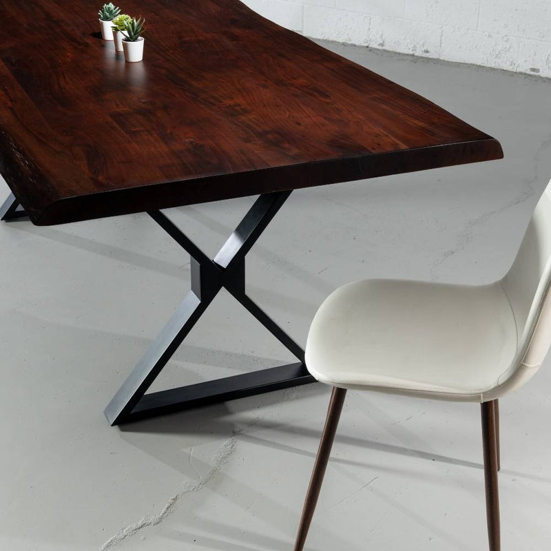 Live Edge Acacia Dining Table with Black X Legs/Honey Walnut - Wazo Furniture