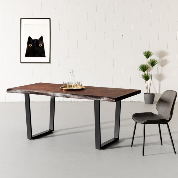 Live Edge Acacia Dining Table With Black U Legs/Honey Walnut - Wazo Furniture