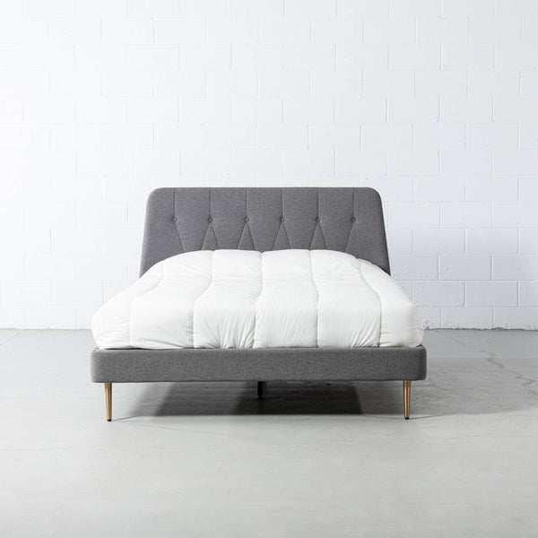 CLARA - Dark Grey Fabric Bed - Wazo Furniture