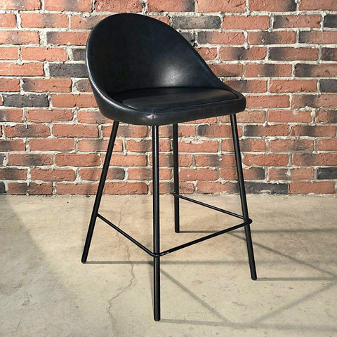 DEX - Black Leather Bar Stool (65 cm) - Wazo Furniture
