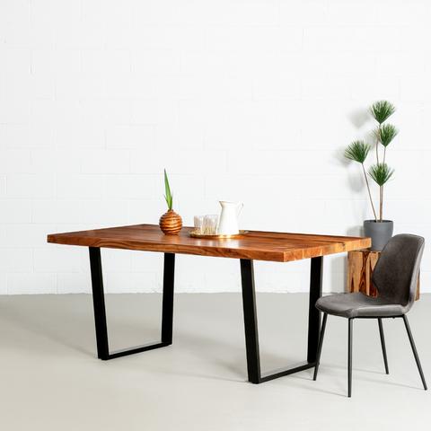 Straight Cut Acacia Wood Table with Black U-Shaped Legs/Natural Colour