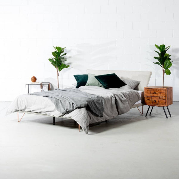 MARIA - Light Grey Fabric Bed - Wazo Furniture
