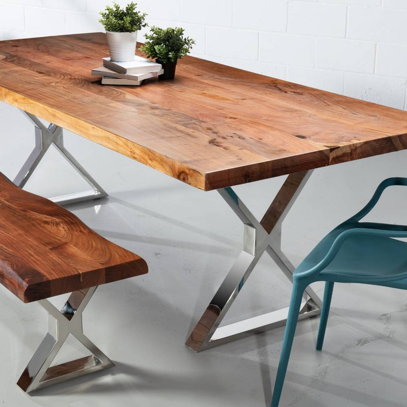 Straight Cut Acacia Wood Table with Chrome X-Shaped Legs/Natural Colour - Wazo Furniture