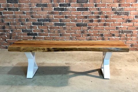 Acacia Live Edge Bench with White X Shaped Legs/Natural Color (145cm) - Wazo Furniture