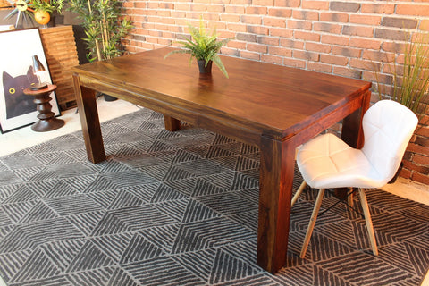 Straight Edge Rosewood Dining Table - Honey Finishing - Wazo Furniture