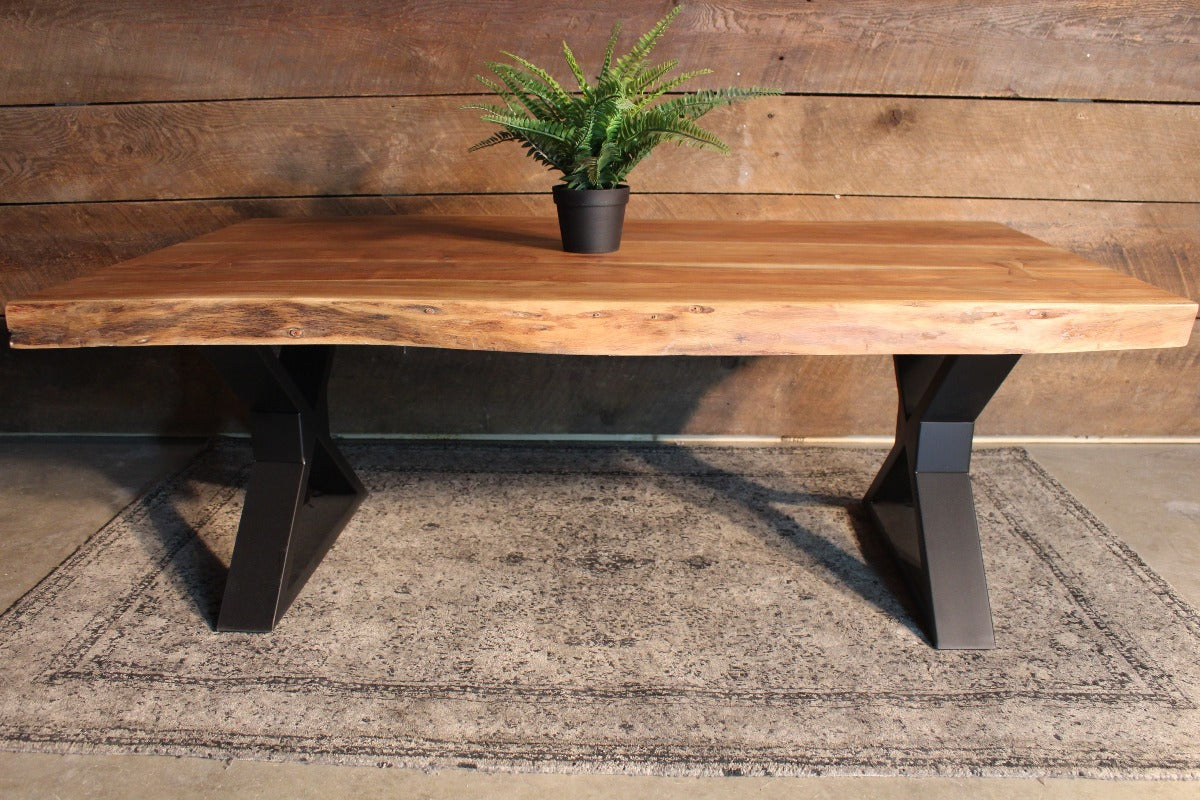 Acacia Natural Live Edge Wood Coffee Table with Black X Shaped Legs