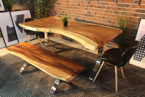 Live Edge Suar Table with Y Shaped Legs - Wazo Furniture