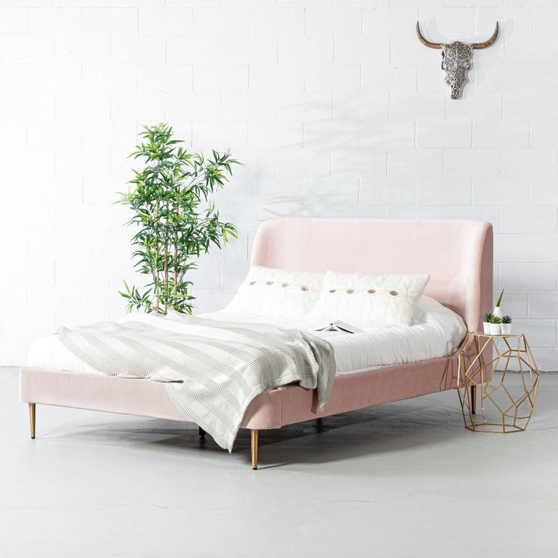MEREDITH - Pink Velvet Bed - Wazo Furniture