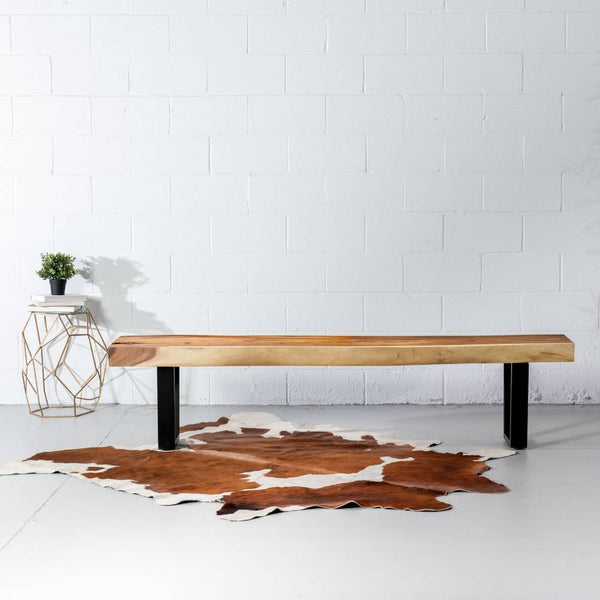 Suar Live Edge Wood Bench with Black U-shaped Legs/Natural - Wazo Furniture