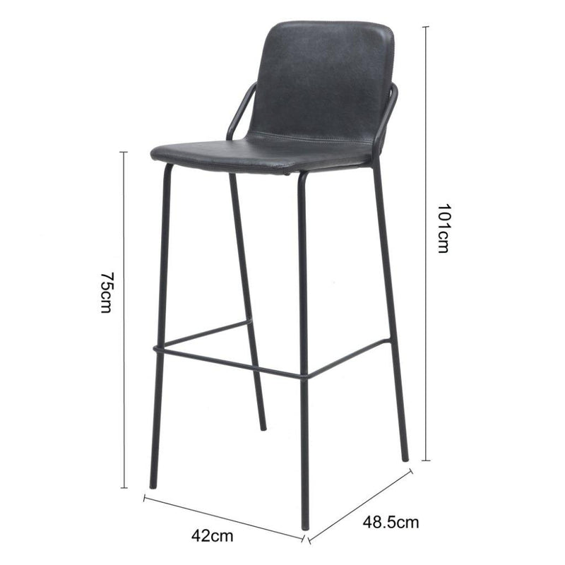 MADISON - Black Leather Bar Stool (75 cm) - Wazo Furniture