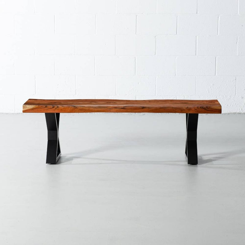 Acacia Live Edge Wood Bench with Black X-shaped Legs/Natural Color - Wazo Furniture