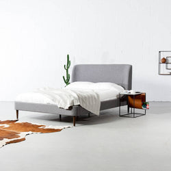 MEREDITH - Dark Grey Fabric Bed - Wazo Furniture