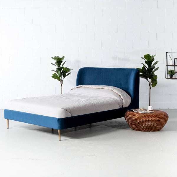 MEREDITH - Dark Blue Velvet Bed - Wazo Furniture