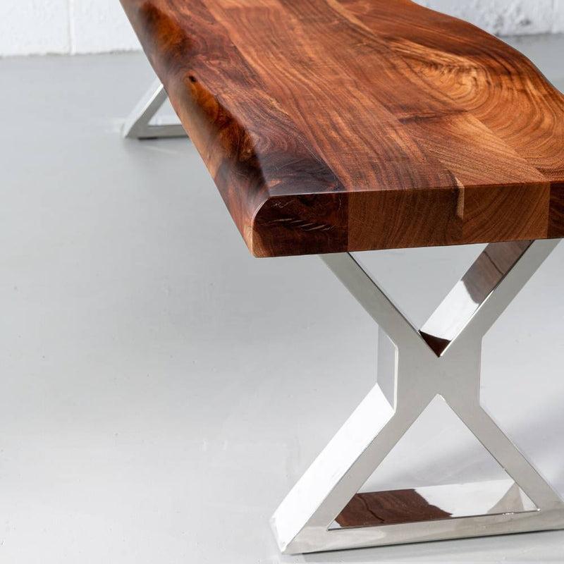 Acacia Live Edge Wood Bench with Chrome X-shaped Legs/Natural Finish - Wazo Furniture