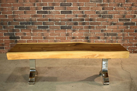 Suar Live Edge Wood Bench with Y-shaped Legs-Benches-Wazo Furniture
