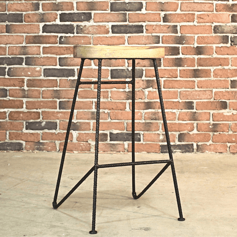 MAYER - Rustic Tractor Wooden Bar Stool