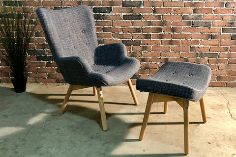 Featherstone Style Contour Lounge Chair & Ottoman (Dark Grey) - Wazo Furniture