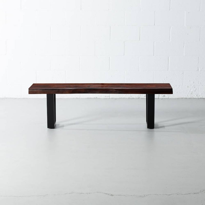 Acacia Live Edge Wood Bench with Black U-shaped Legs/Honey Walnut