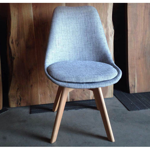 Eames Style Oak Chair with Peppered Scandinavian Fabric Seat