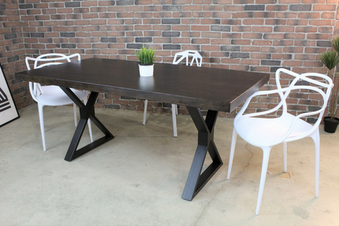 Acacia Straight Cut Dining Table with Black X Shaped Legs/Walnut Color - Wazo Furniture
