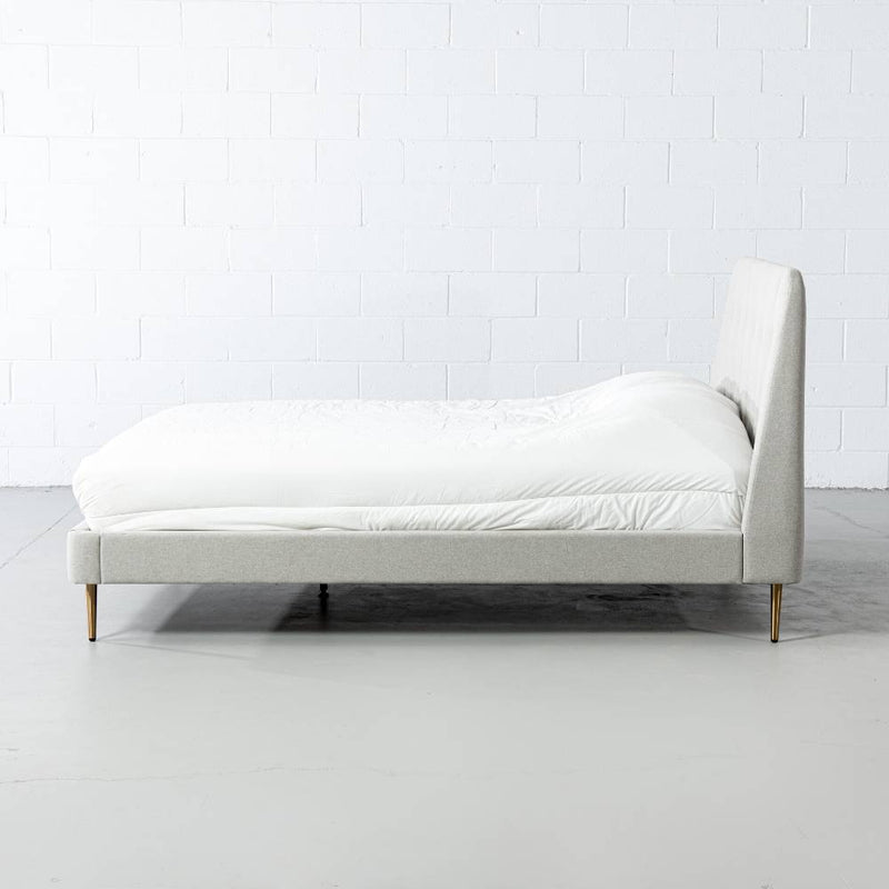 CLARA - Light Grey Fabric Bed - Wazo Furniture