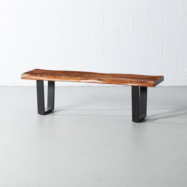 Acacia Live Edge Bench with Black U Shaped Legs/Natural Color - Wazo Furniture
