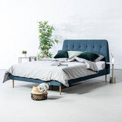 CLARA - Dark Blue Fabric Bed - Wazo Furniture