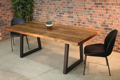 Straight Cut Acacia Wood Table with Black Trapezoid Legs/Natural
