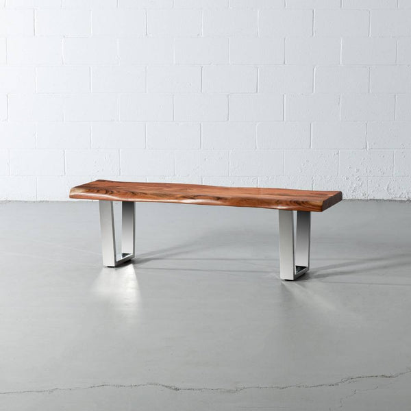 Acacia Live Edge Wood Bench with Chrome U-shaped Legs/Natural Finish - Wazo Furniture