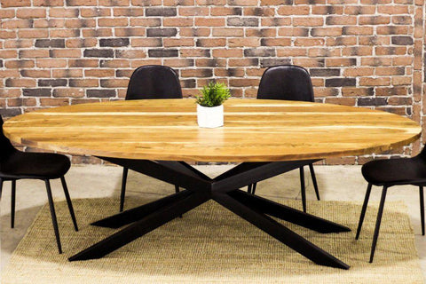 LISBON - Acacia Oval Dining Table - Wazo Furniture