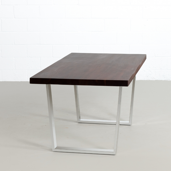 Straight Cut Acacia Dining Table with Chrome U legs/Honey Walnut - Wazo Furniture
