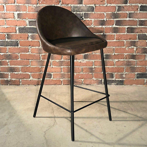 DEX - Brown Leather Bar Stool (65 cm) - Wazo Furniture