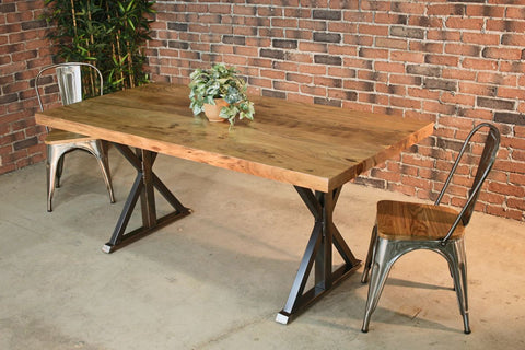 Straight Cut Acacia Wood Table with Brushed Farmhouse Legs/Natural