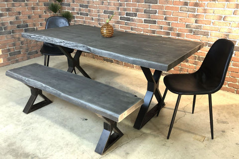 Acacia Live Edge Dining Table with Black X Shaped Legs/Grey Color - Wazo Furniture