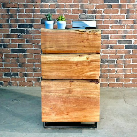 HAROLD Acacia Live Edge Filing Cabinet - Wazo Furniture