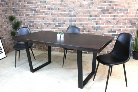 Acacia Straight Cut Dining Table with Black U Shaped Legs/Walnut Color - Wazo Furniture